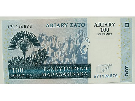 Madagaskar- 500 Franków Malgaskich UNC
