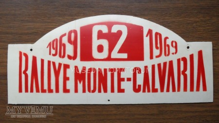 "Tablica rajdowa ""RALLYE MONTE-CALVARIA 1969 rok"""