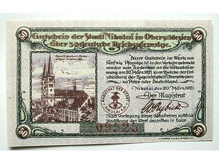 Mikołów- Pieniądz zastępczy 50 Pf