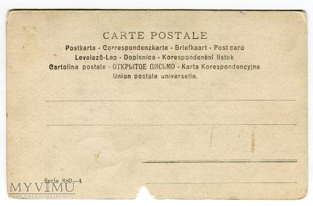 1900 Wycieczka saniami przez zimowy las pocztówka