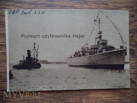 Zdjęcie ORP Gryf 1937 r w drodze do Gdyni