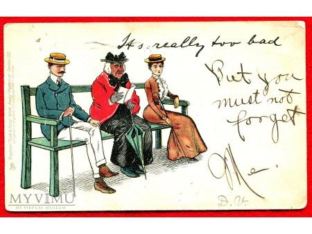 c. 1904 Flirt na ławeczce w parku Podryw dama
