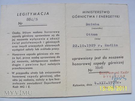 HONOROWA SZPADA GÓRNICZA DOZORU - 1970r