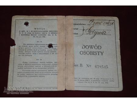 Dowód osobisty - Gdynia - 1936