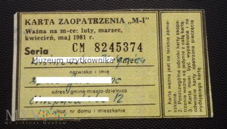 1981 rok M-I karta zaopatrzenia