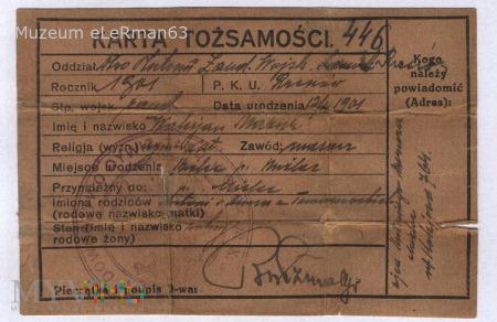 Karta Tożsamości z 10 Dywizjonu Żandarmerii.