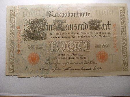 Duże zdjęcie 1000 marek 1910 rok.