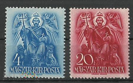 Szent István király a trónon