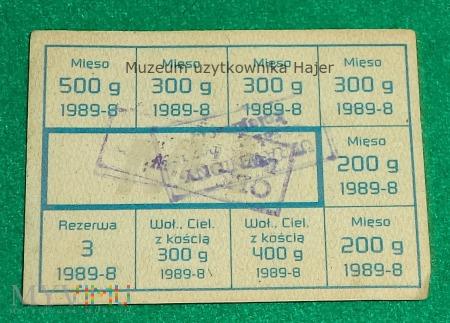 Kartka żywnościowa M-I sierpień 1989 rok