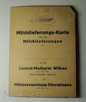 Przedwojenna karta dostawy mleka 1938