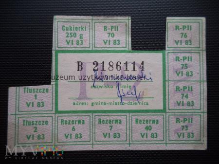 P-2 czerwiec 1983 rok - kartka żywnościowa
