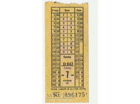 Bilet PKS - komunikacja miejska, 1979 rok.