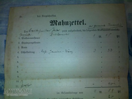 SULMIERZYCE-SULMIRSCHUTZ RACHUNEK 1909