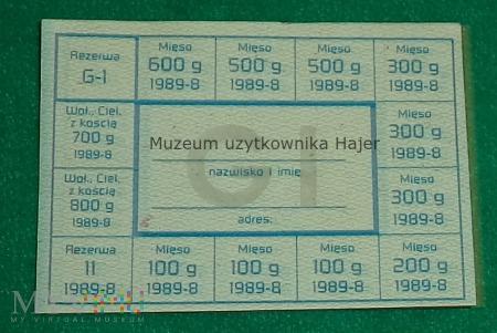 Kartka żywnościowa G-I sierpień 1989 rok