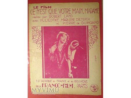 Marlene Dietrich Nuty Całuję Pani Dłoń Madame 1929