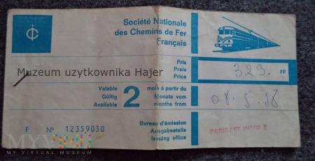Paryż Zgorzelec Bilet kolejowy 1978 rok