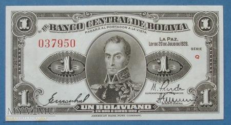 1 boliviano 1928 r - Boliwia