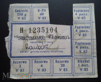P-2 maj 1983 rok - kartka żywnościowa
