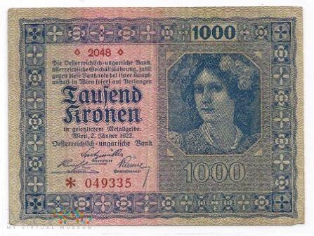 Austria.13.Aw.1000 kronen.1922.P-78