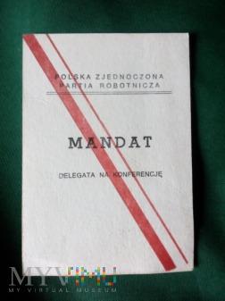 MANDAT DELEGATA PZPR. 1986 ROK