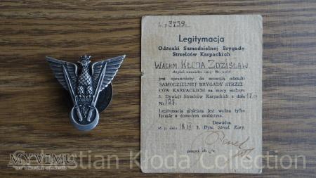 Odznaka SBSK z legitymacją