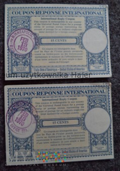 International reply coupon 15 cents