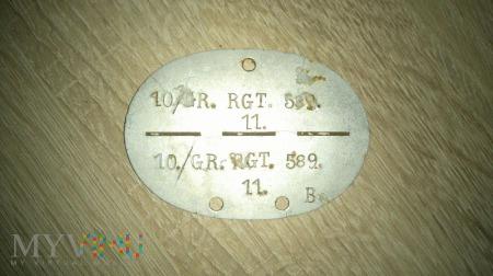 Duże zdjęcie Nieśmiertelnik Grenadier-Regiment 589