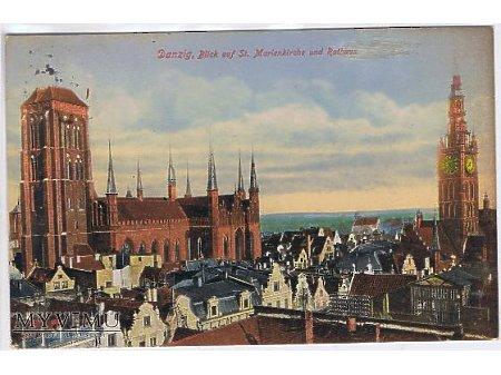 Duże zdjęcie Danzig. Blick auf st. Marienkirche und Rathaus