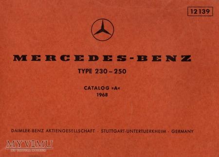 Mercedes W114 230 250. Katalog części z 1968 r.