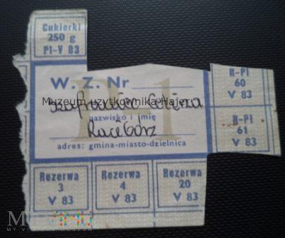 P-1 maj 1983 rok - kartka żywnościowa