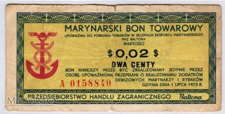 Bon Towarowy Baltona - B38a - 2 Centy - 1973