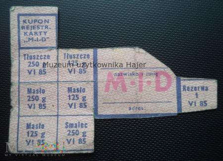 M-I-D czerwiec 1985 rok - kartka żywnościowa