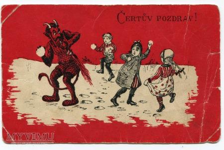 dzieci Diabeł KRAMPUS Čertův pozdrav pocztówka