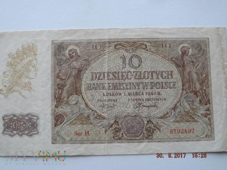 10 Dziesięć - Złotych 1940r.