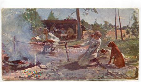 Biwak Pieczenie kurczaków