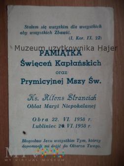 Strancich Alfons ksiądz Oblat Lubliniec 1958