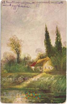 Widok wiejski nad jeziorem - 1921