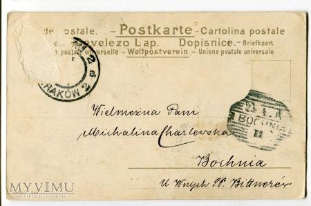 Kobieta Ślimak stara pocztówka Kraków Bochnia