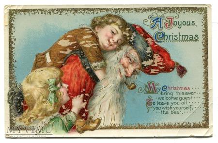 Święty Mikołaj z fajką litho pocztówka