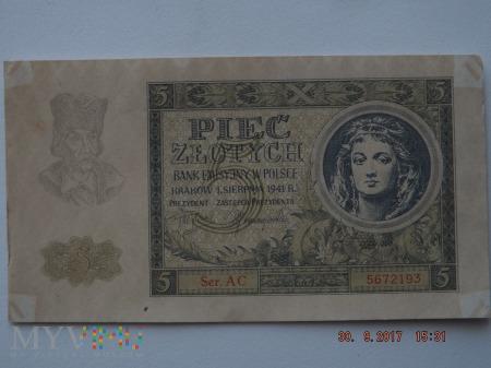 Pięć Złotych 1941r.