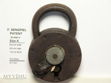 """Duże zdjęcie F. Sengpiel Patent Padlock No # - Size """"A"""""""