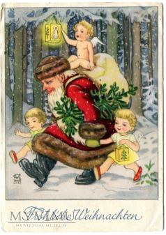 Święty Mikołaj Aniołki z prezentami pocztówka