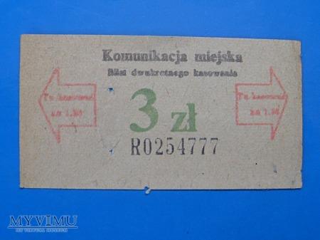 Bilet komunikacji miejskiej- 1977 rok.