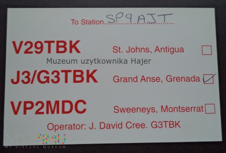 Grenada Grand Anse Karta QSL