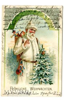 Święty Mikołaj w białym stroju pocztówka