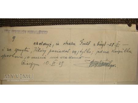 Meldunek o Dezercji Polskiego Żołnierza 4.P.S.P.