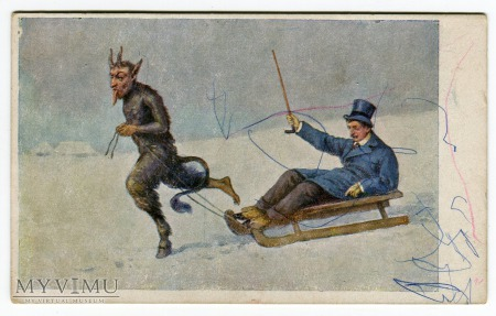 Diabeł Krampus i nietrzeżwy obywatel na sankach