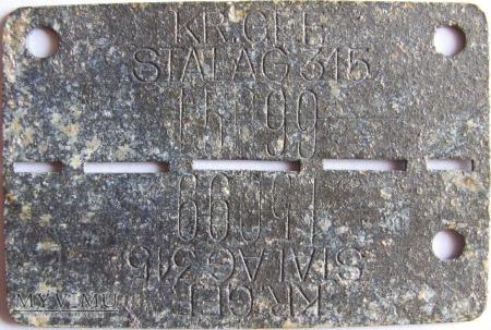 Nieśmiertelnik STALAG 315 slalag II B Hammerstein