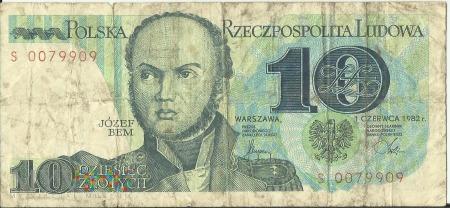 Banknot 10 złotych 1 czerwca 1982