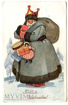 Święty Mikołaj z prezentami stara pocztówka